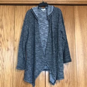 Cj banks woven hooded open front cardigan